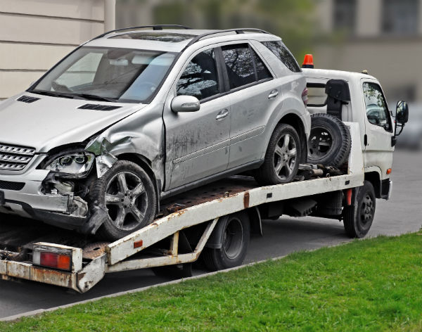 towing a car after a crash