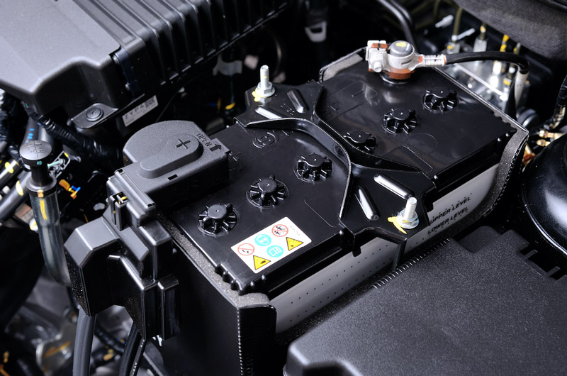 A fresh car battery added to a vehicle for extra reliability