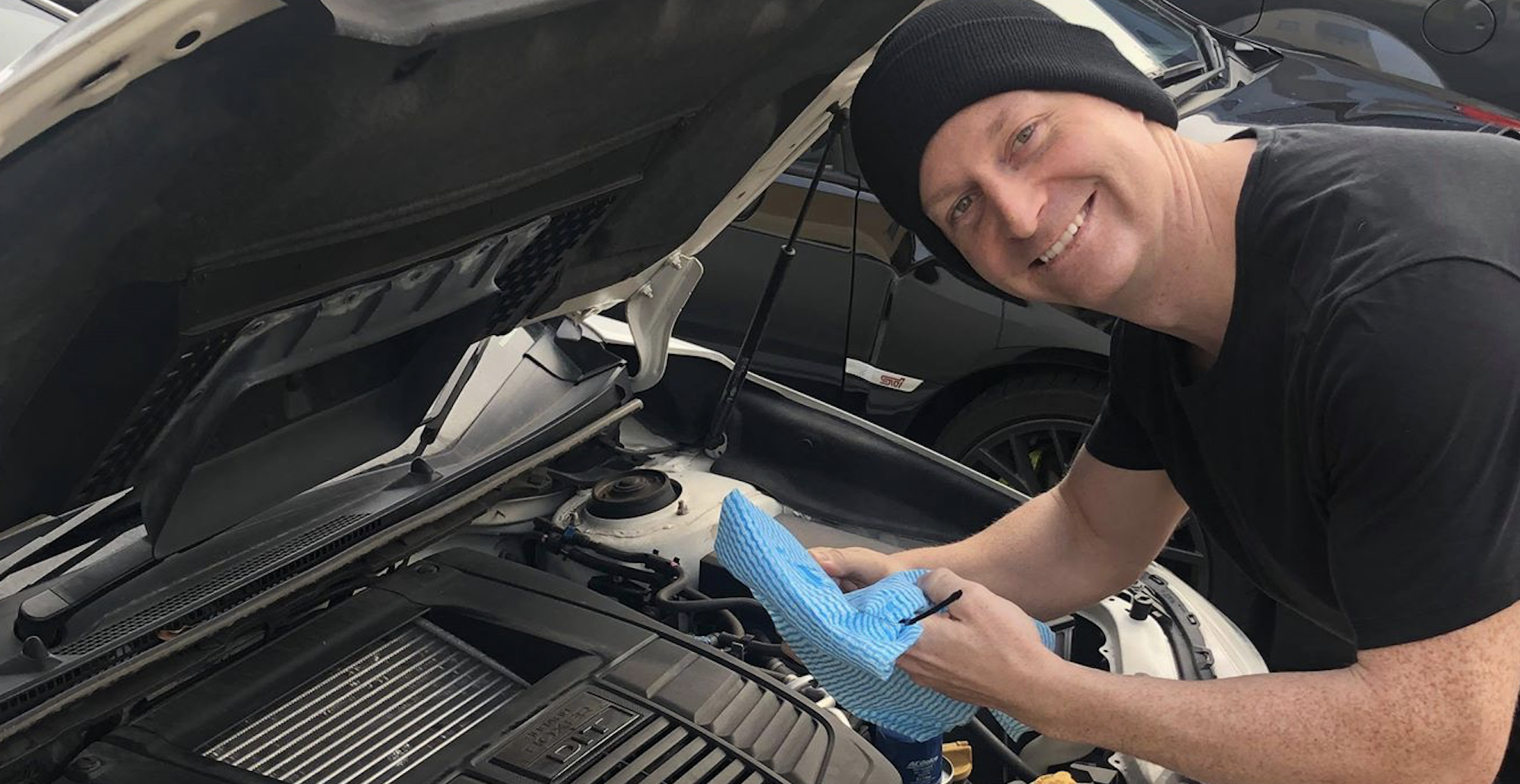 Changing an oil filter on a Subaru WRX.