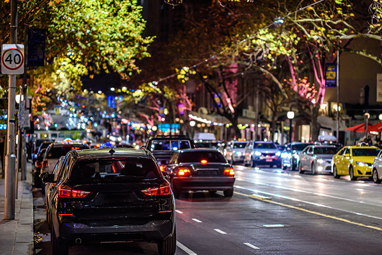 melbourne street parking at night