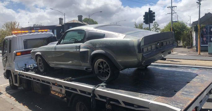 A Shelby Mustang getting towed away for maintenance in Melbourne Australia.